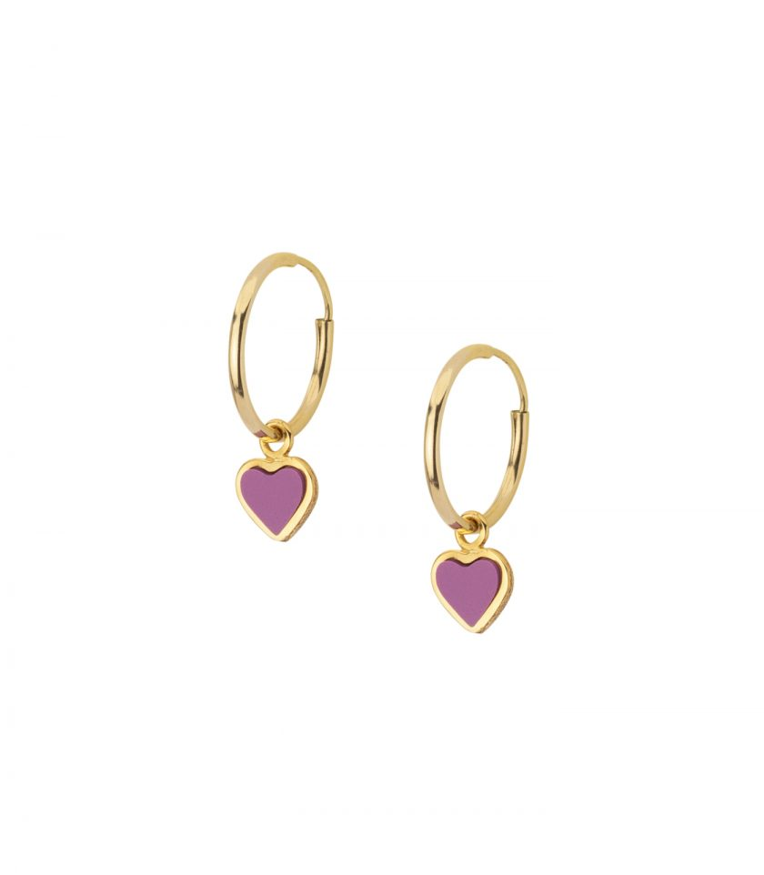 18kt Earrings Heart Drop Hoop Trendy Design Made In Tally Vicenza Bassi