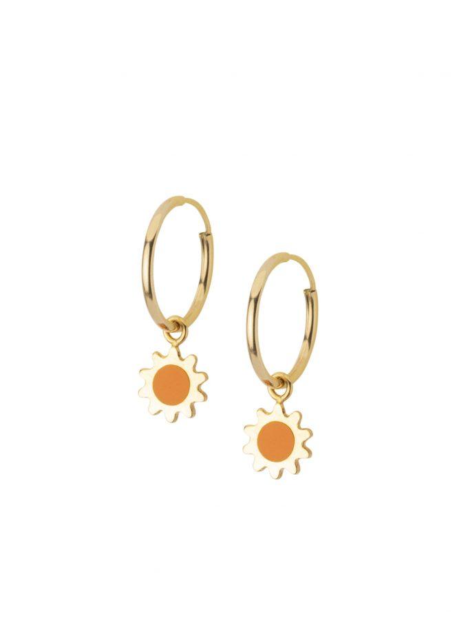 Sole Sun Drop Earrings.hoop Small Light Ultraleggeri Canna Vuota 18kt 18kt 18 Kt Made In Italy Vicenza Bassis.r.l.